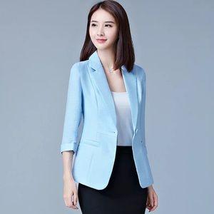 🌻NEW Light Blue 3/4 Sleeve Blazer Suit Jacket
